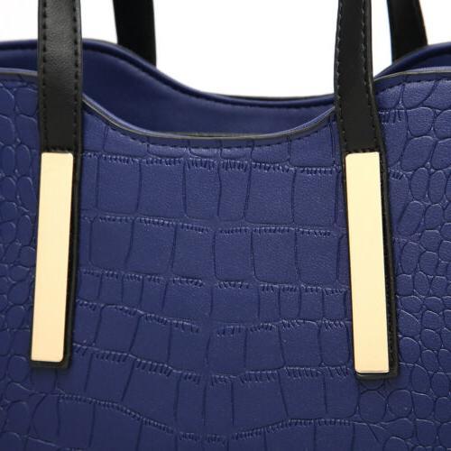 2pcs Women's PU Satchel Purses Handbags Tote Wallets