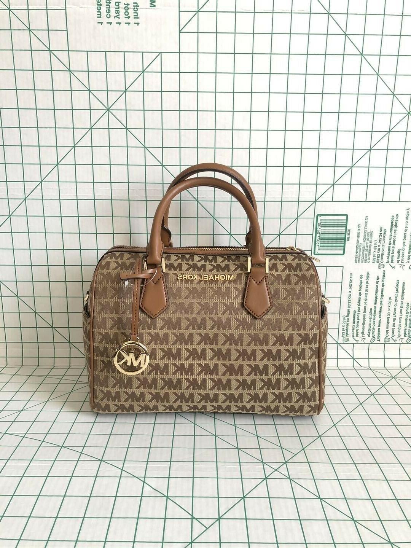 bedford jacquard leather satchel duffle shoulder bag
