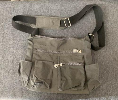 beige nylon crossbody shoulder bag