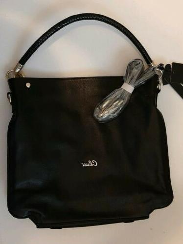 black leather handbag purse tote satchel shoulder