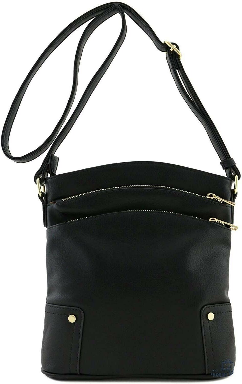 black triple zip pocket large crossbody bag