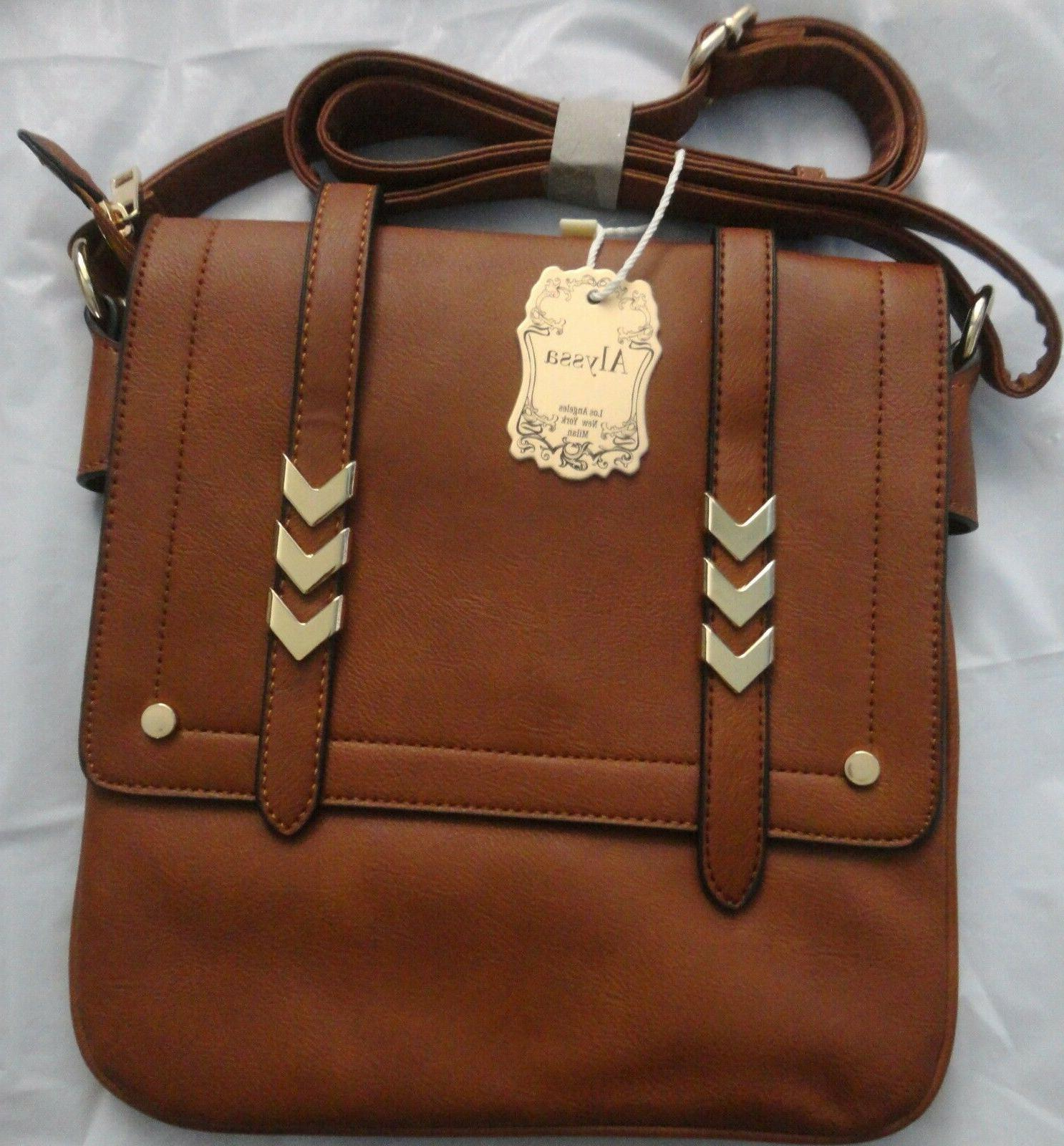 brown crossbody double compartment large flap over