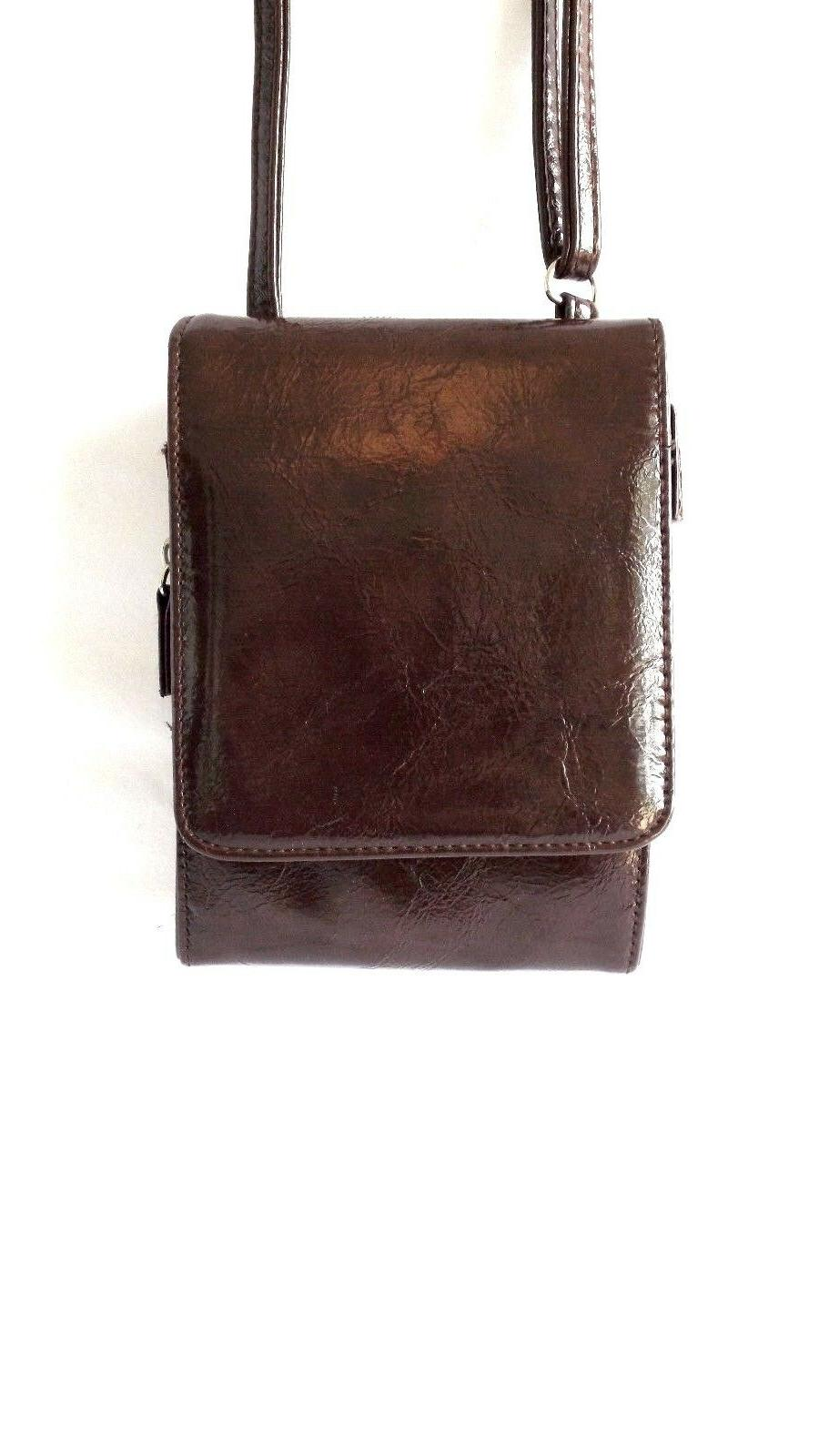cross body small bag brown faux patent