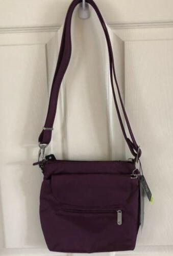 crossbody anti theft bag plum nwt
