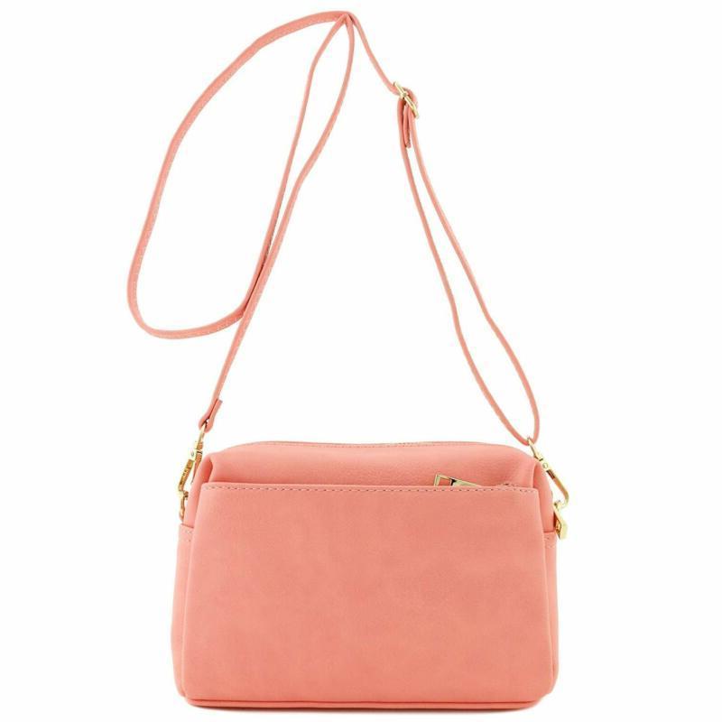 Crossbody Bag Women   Faux   Triple Zip Light Pink