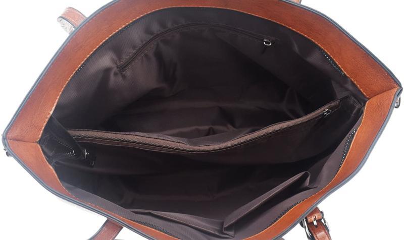 Dreubea Leather Handbag Big Capacity Shoulder Crossbody