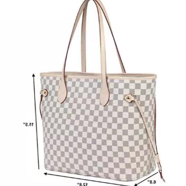 Luxury Checkered Tote Bag for Strap Pouch