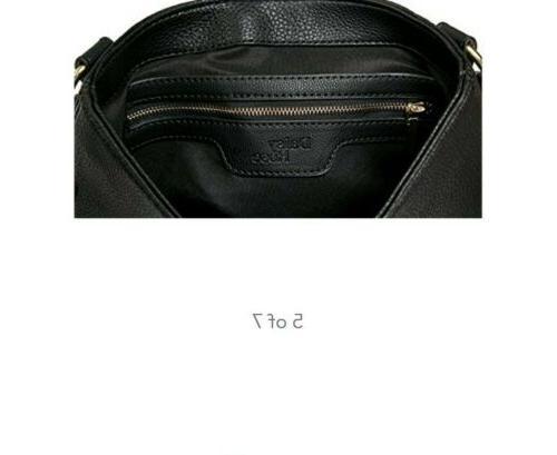 Daisy Rose Medium Cross Body Shoulder Bag Leather Black