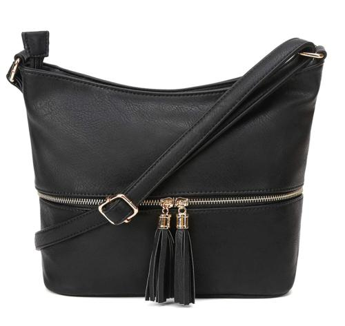DELUXITY Medium Size Hobo Crossbody Bag with Tassel/Zipper A