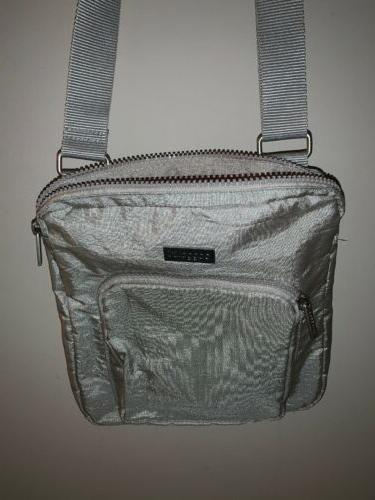 metallic nylon casual zipper crossbody messenger bag