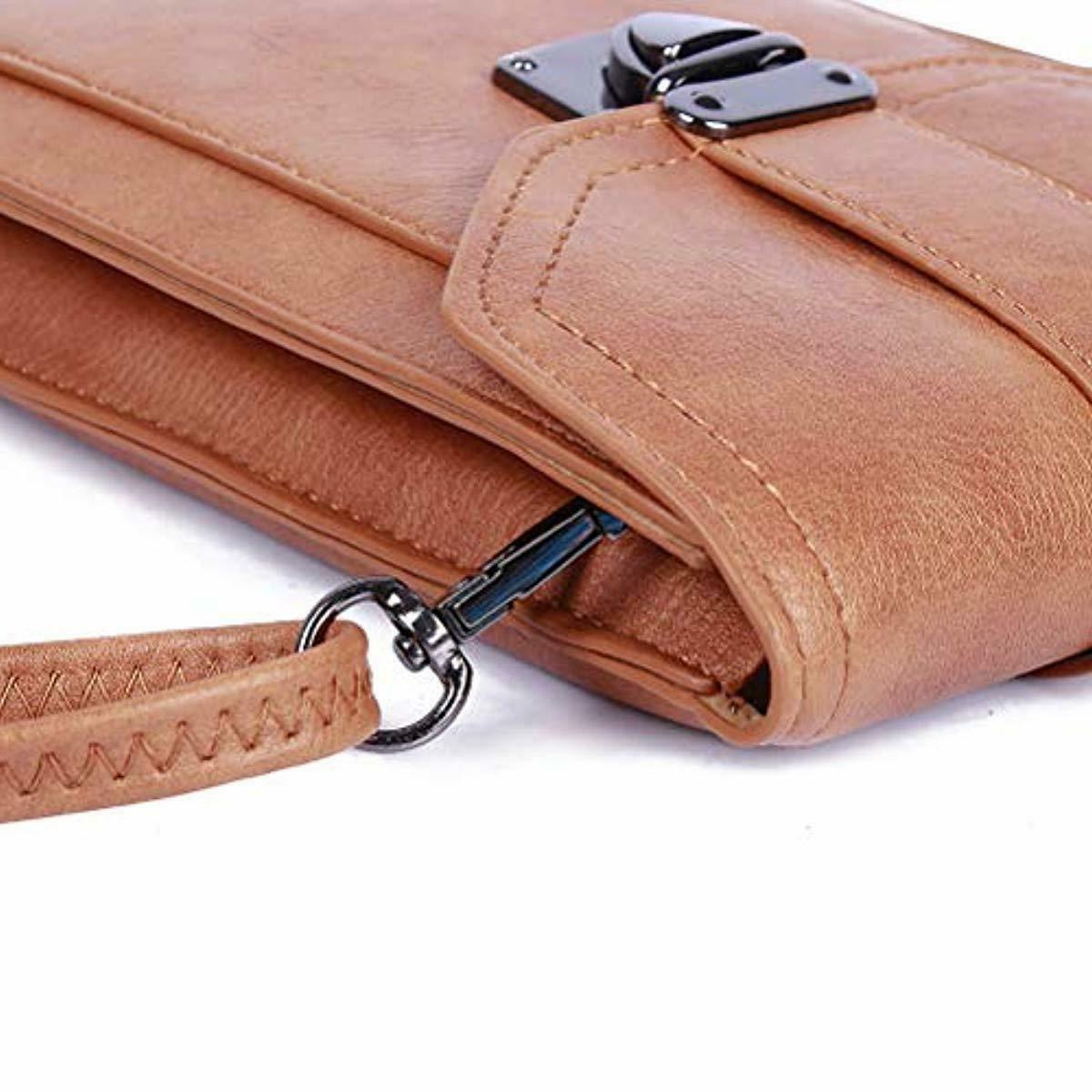 Multi Pocket Small Purse Cell Phone Wallet Vegan Leather Crossbody Women
