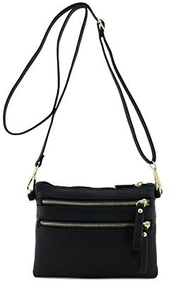 multi zipper pocket wristlet crossbody