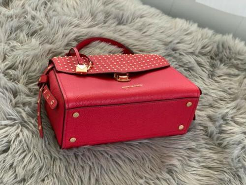 NWT KORS RED LEATHER TH SATCHEL PURSE