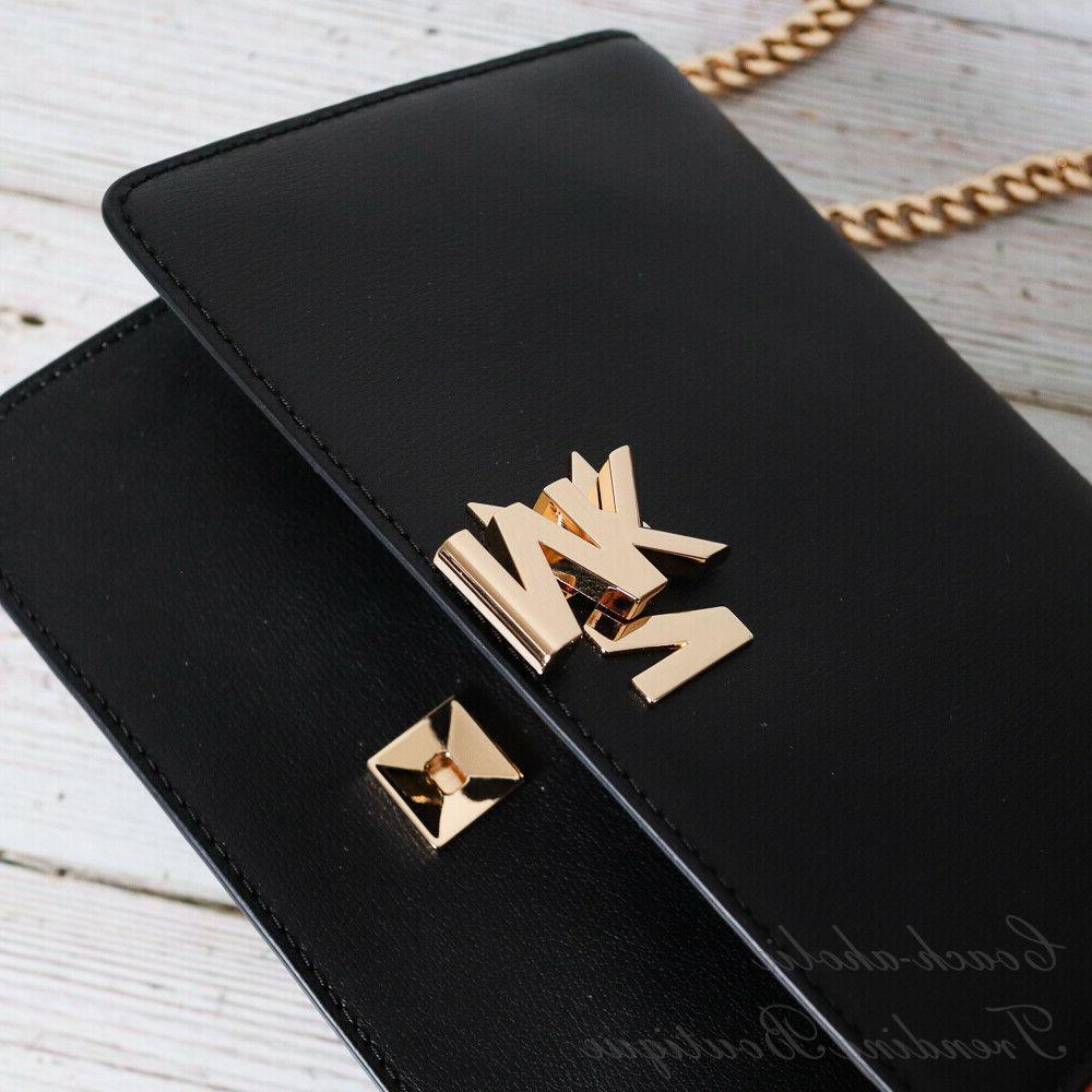 NWT Michael Chain Shoulder MK Black Leather