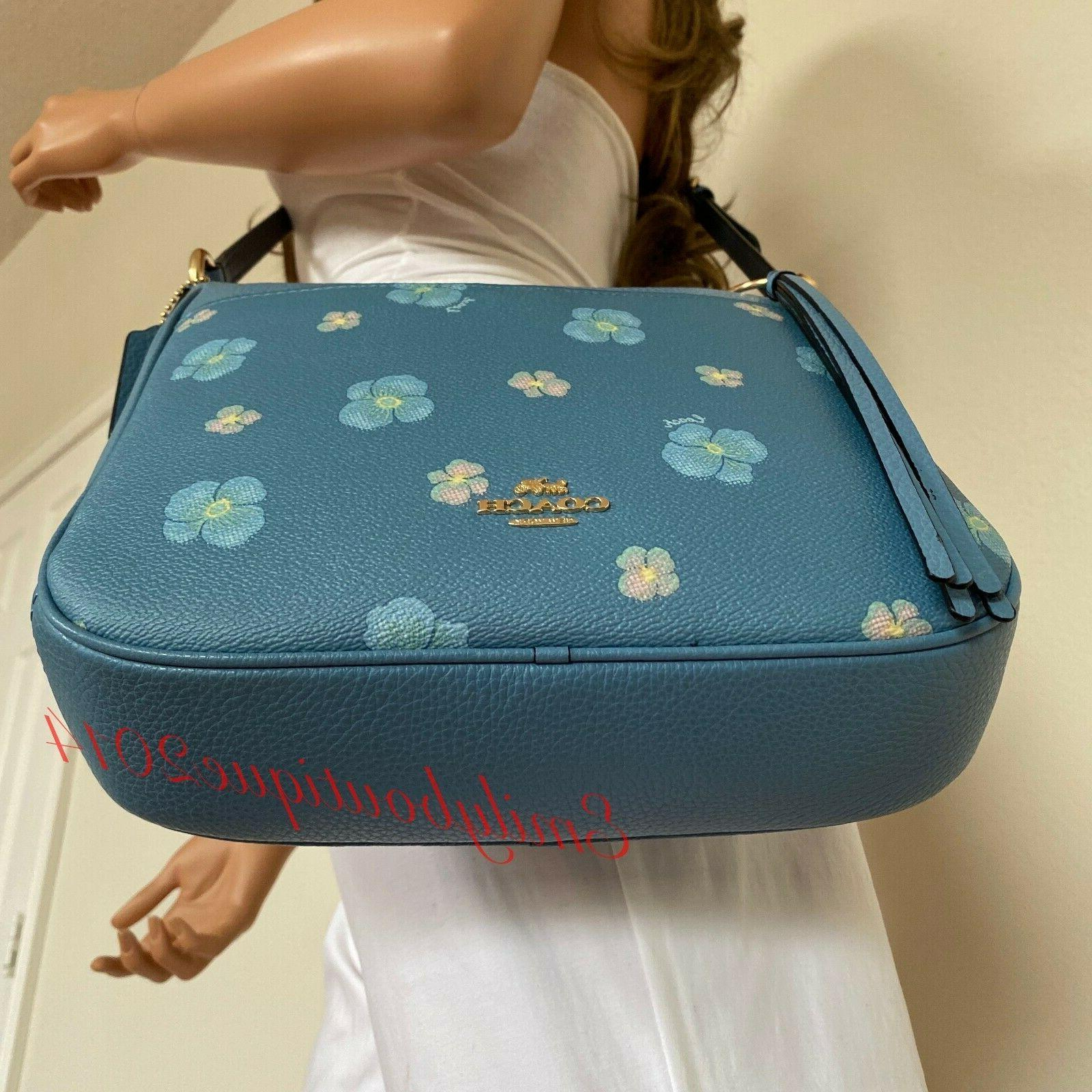 NWT COACH PRINT CHAISE PACIFIC BLUE CANVAS LEATHER CROSSBODY BAG