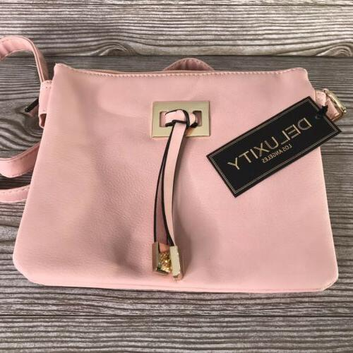 nwt vegan leather light pink crossbody bag