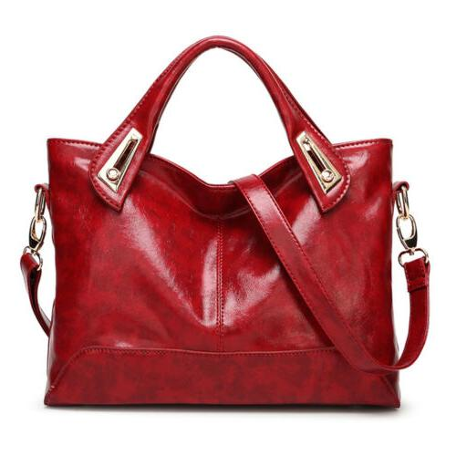 Women Oil Wax Leather Satchel Handbag Leather Messenger Shou