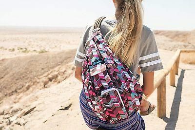 KAVU Polyester Crossbody Shoulder Backpack Sunset Blocks