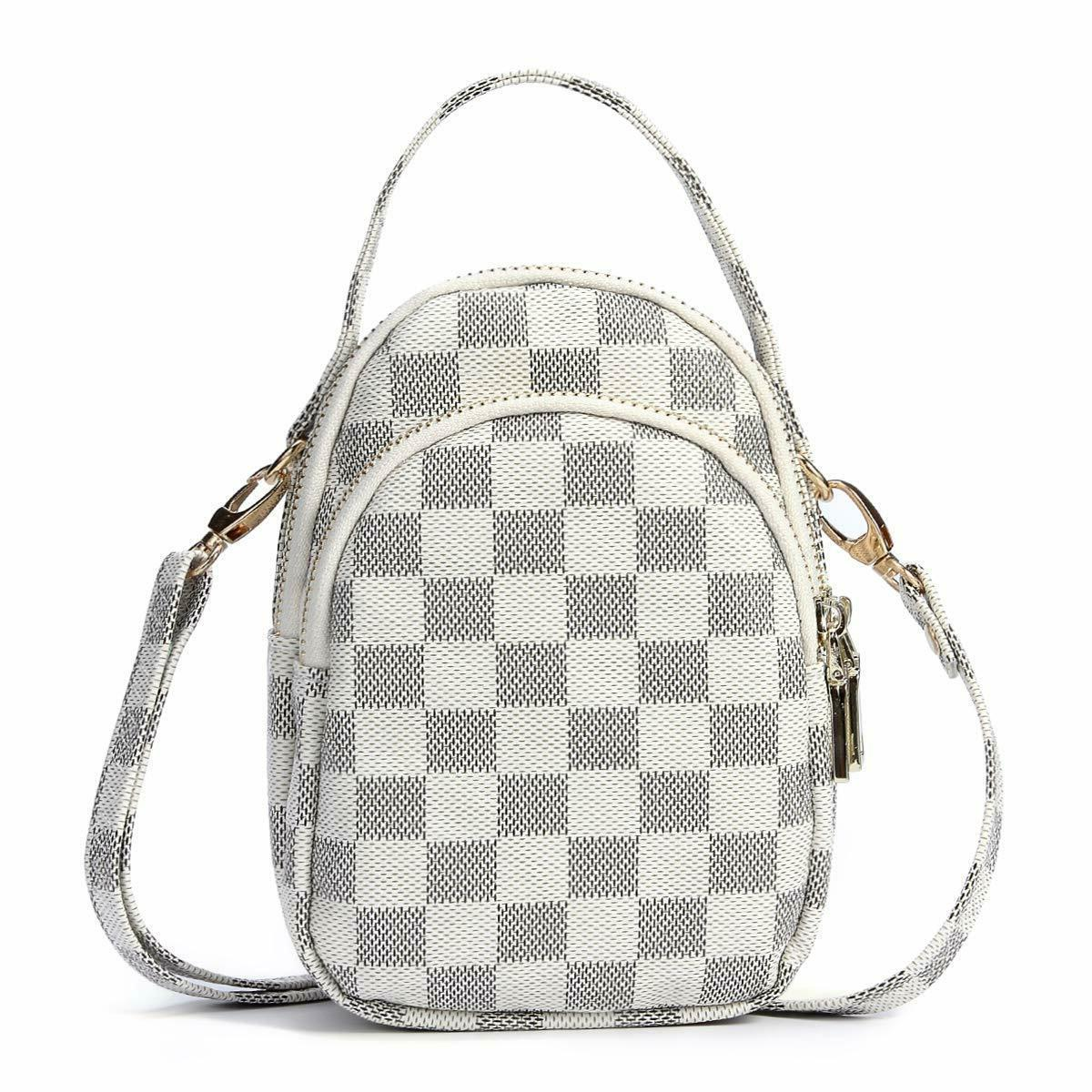 small checkered crossbody cellphone bag for women
