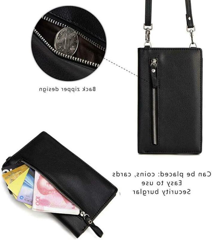 Small Leather Bag, Crossbody Bag CellPhone Wallet Purse Lightweight