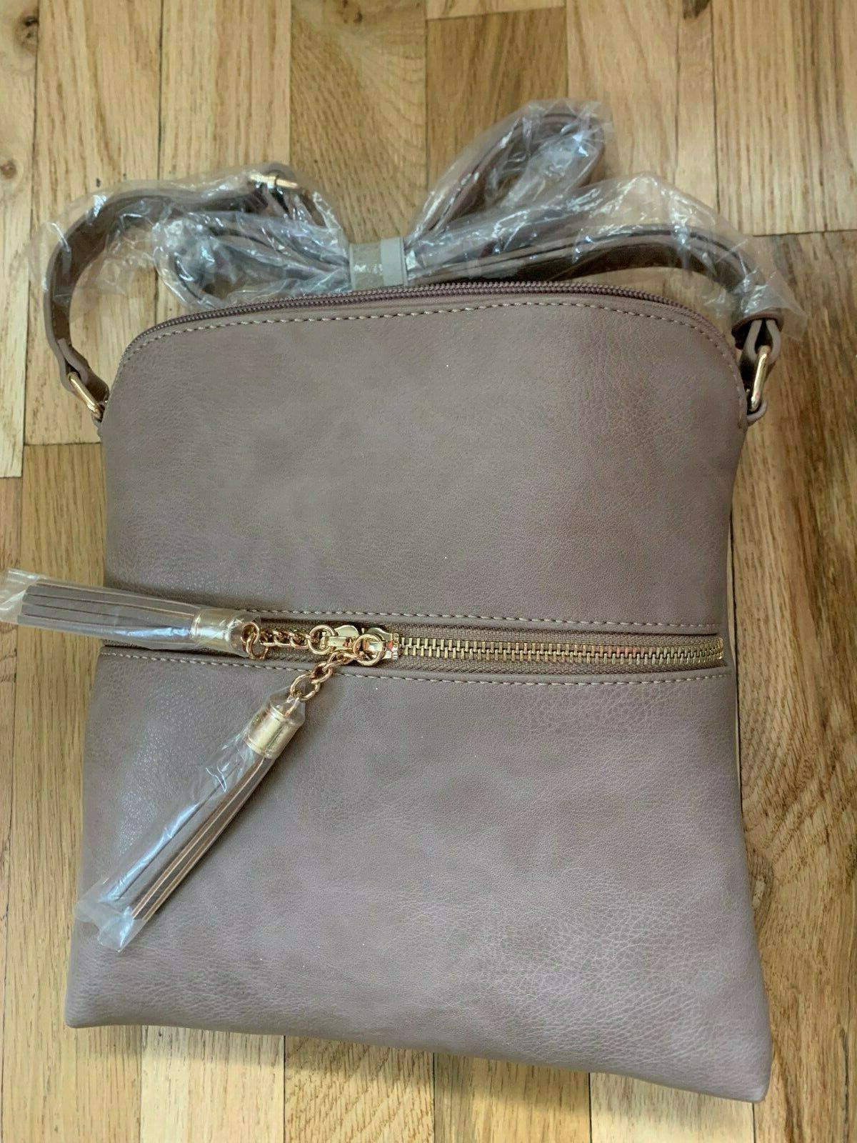 Tassel Zip Crossbody Bag in Taupe- lightweight