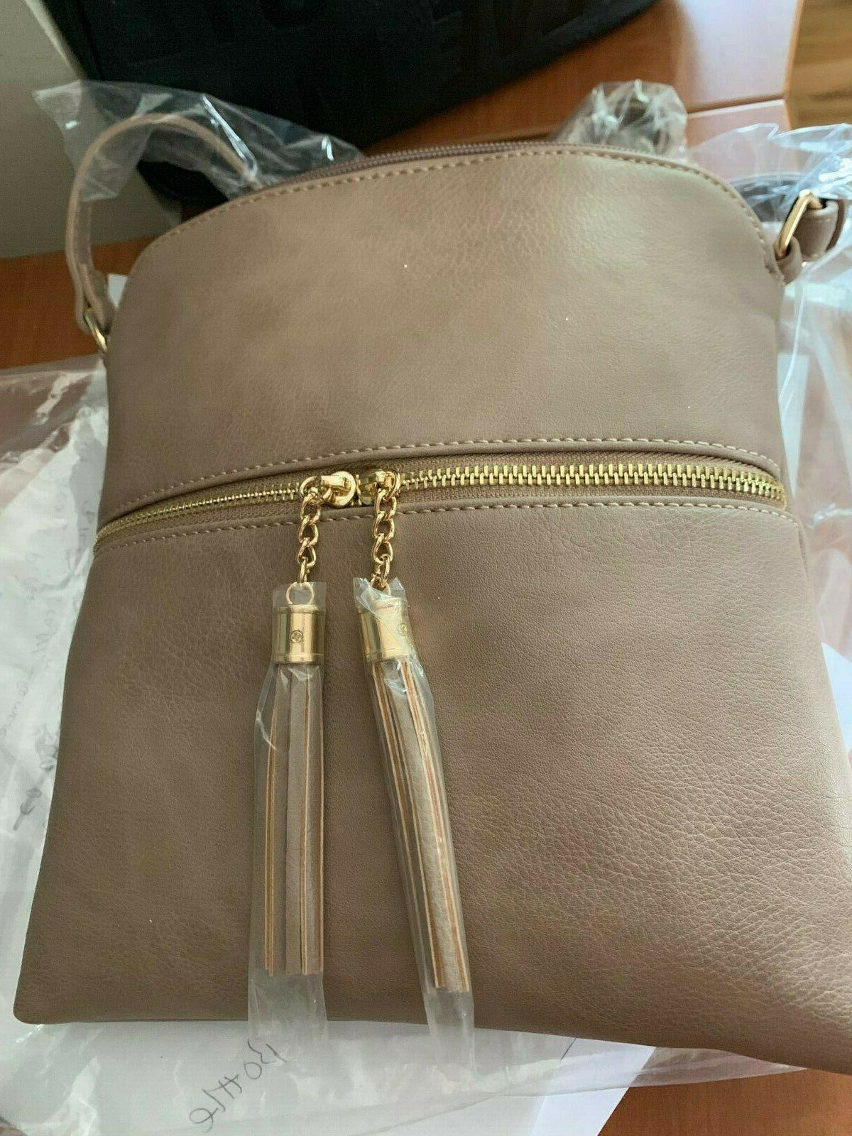 tassel zip pocket crossbody bag in taupe