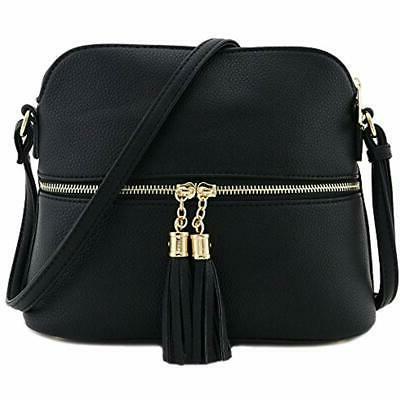 tassel zipper pocket dome crossbody bag black