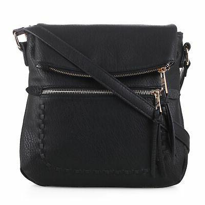 tassel zippered crossbody bag with flap top
