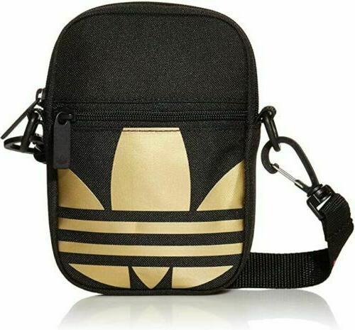 trefoil crossbody festival bag black and gold