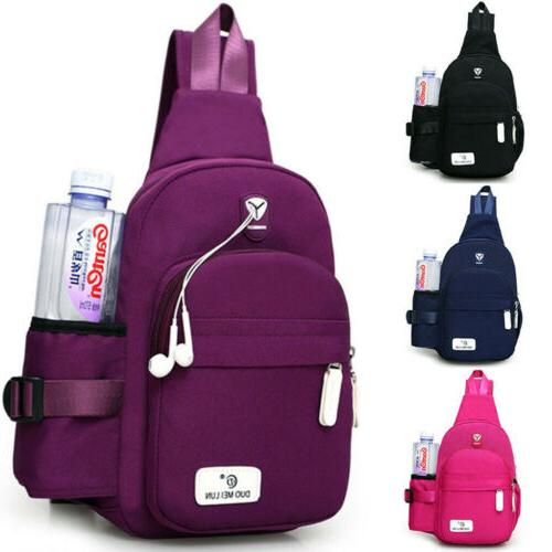 Men Women Nylon Sling Bag Backpack Crossbody Shoulder Chest
