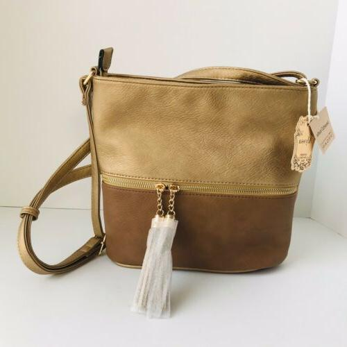 vegan leather crossbody bag gold and brown