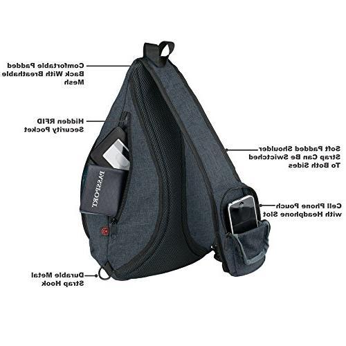 Versatile Canvas Sling Travel Backpack, Black Wear Crossbody for Women, NeatPack
