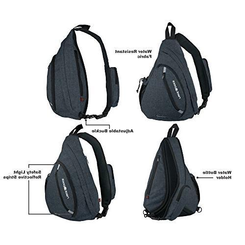 Versatile Sling Travel Backpack, Black   Wear Shoulder Crossbody Men Women,