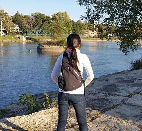Versatile Canvas Sling Travel Backpack, Black   Wear Shoulder Crossbody for & Women, NeatPack