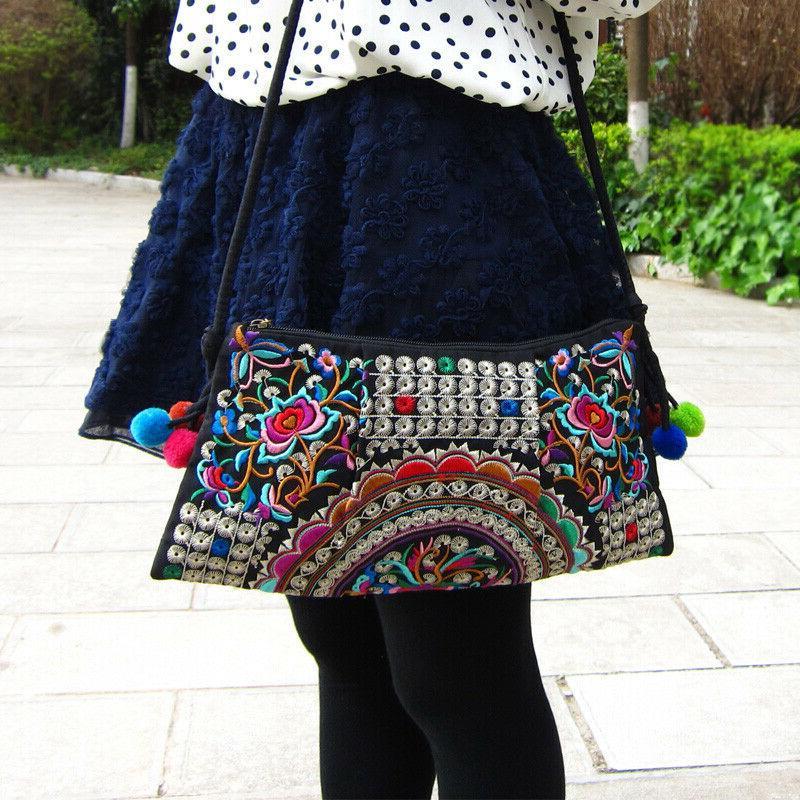 Vintage Embroidery Crossbody Bag Shoulder Messenger Women