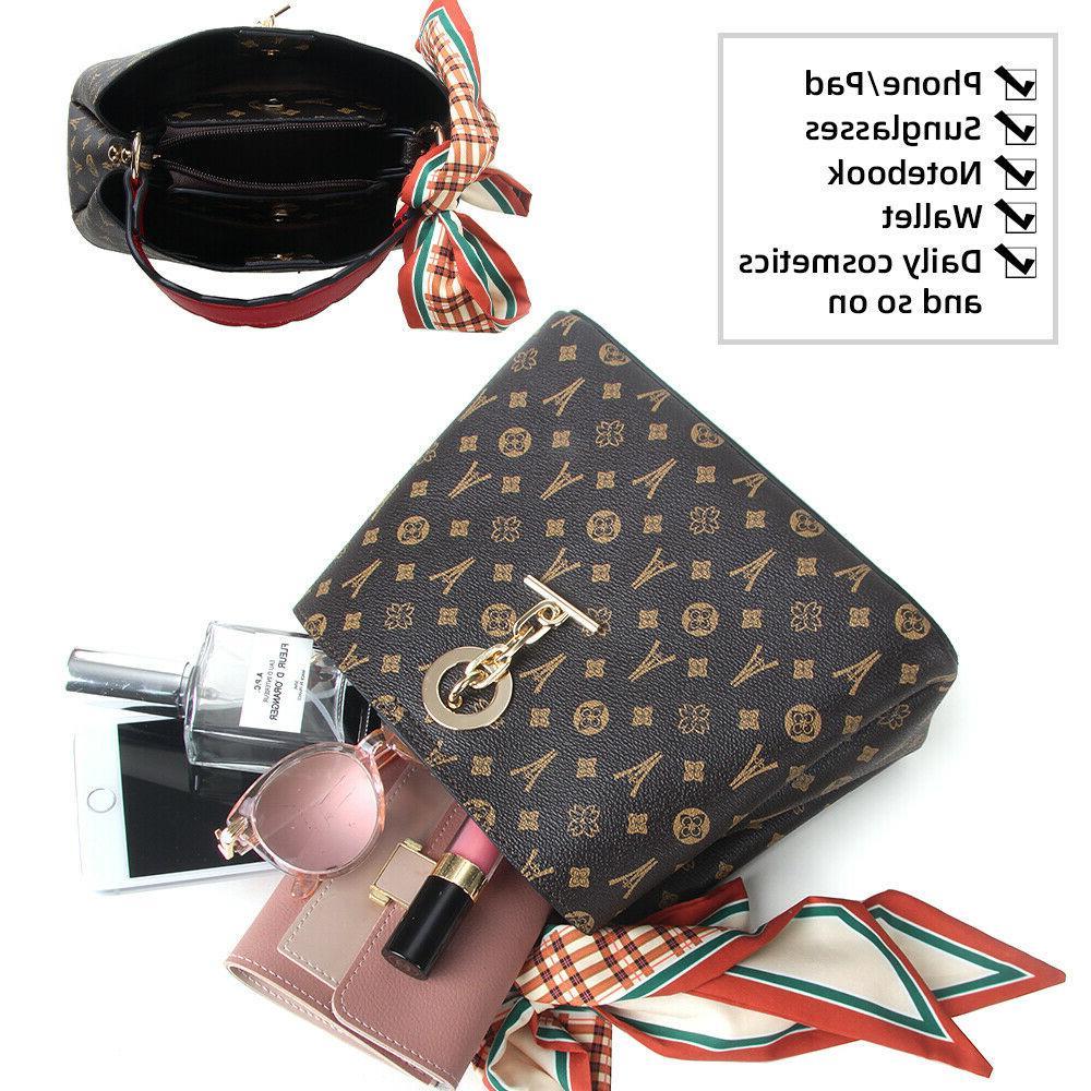 Women Bucket Pendant Handbags Scarves Shoulder Crossbody Bag