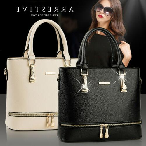 Women Leather Handbag Purse Shoulder Zipper Satchel Crossbod
