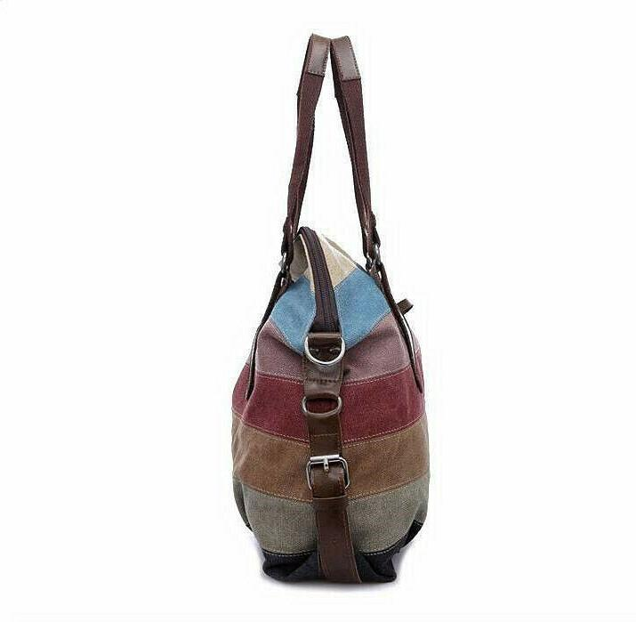 Women's Canvas Bag Rainbow Cross Body Satchel US