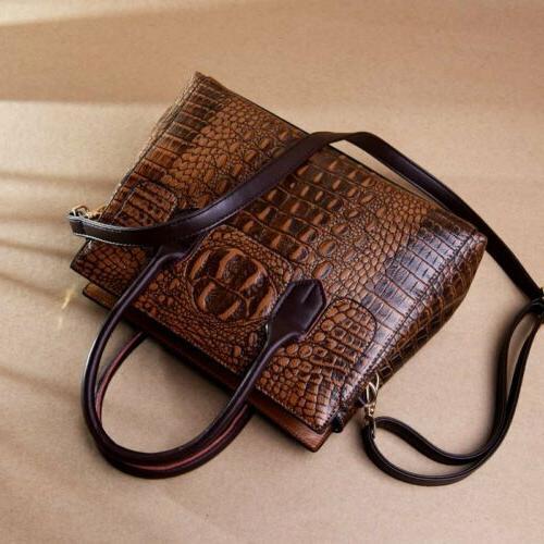 Women's Crocodile Leather Handbag Sling CrossBody Tote Bag Shoulder