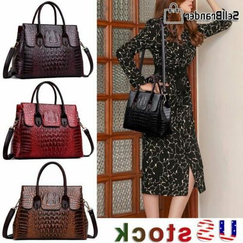 women s crocodile leather handbag sling satchel