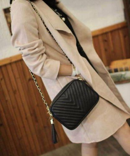 Women's Ladies Shoulder Quilted Handbag Gold Leather Bag