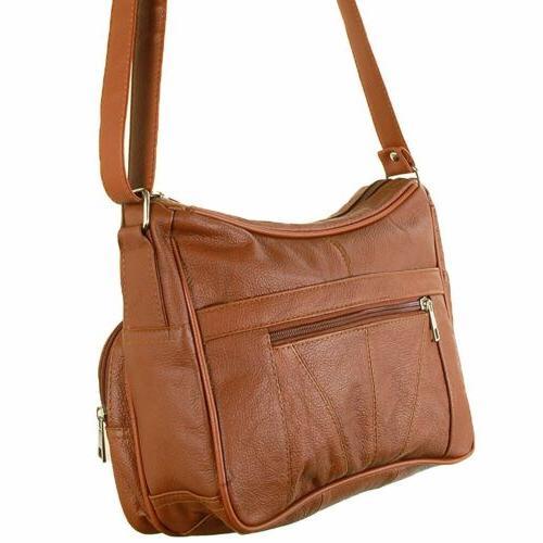 Women's Leather Purse Shoulder Pockets Cross Handbag