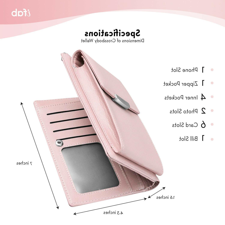 Women Crossbody Bag, ifab Wallet Card Pink