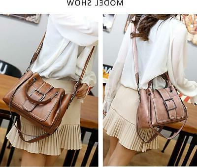 Women Small Leather Satchel Handbags Tote Bag Multi-pocket