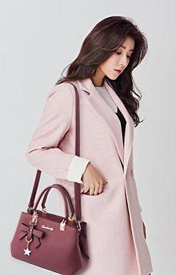 Dreubea Womens Tote Shoulder Purse Leather Crossbody Bag Pink