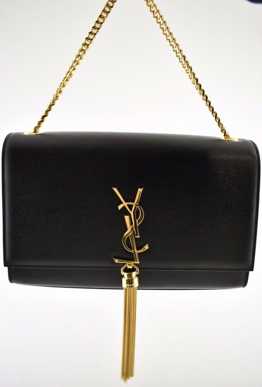 Saint Kate Black Caviar Gold Tassel Wallet