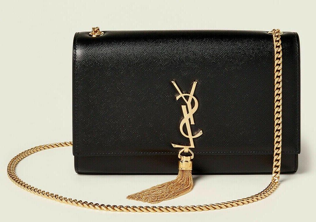 ysl monogram kate medium black caviar gold