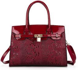 Leather Tote Bag for Women Red Color Strap Adjustable Detach