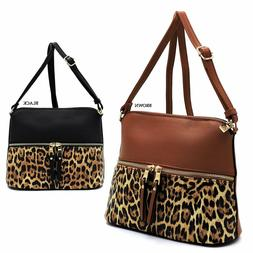 Leopard Zipper Dome Crossbody Bag Leopard Animal Printed Pur