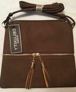 lightweight medium crossbody bag with tassels brown
